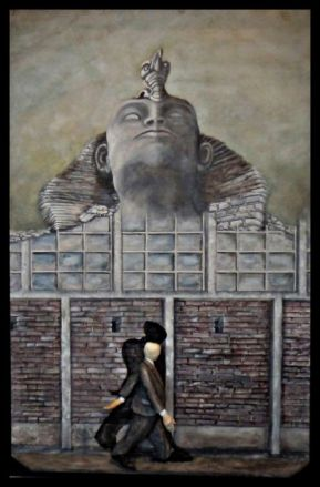 Der Teufel kommt in vielerlei Gestalt (Bild und Skulptur )- 40/60/10 cm Öl auf Hartfaser Holz - geschnitzt u. bemalt 2012/01 - WKZ #100