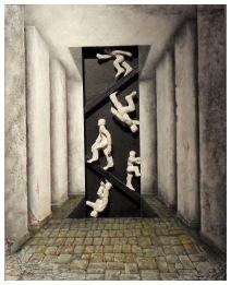 """""""AUFBRUCH UND HEIMKEHR DER JÄGER"""" (Bild und Skulptur )- 40/50/10 cm Öl auf Malpappe Holz - geschnitzt u. bemalt 2013/01 - WKZ #117"""