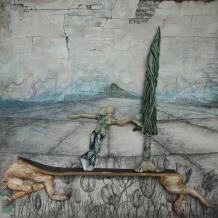 Ein Hauch von Südwind - 70/70/20 cm Öl auf Malpappe Plastiktüten Holz - geschnitzt & bemalt (Öl) 2015/09 - WKZ#158
