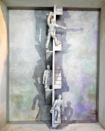 TRAUMTREPPE I - #90 - 45/55/10 cm - Öl auf Malpappe - Holz - geschnitzt u. bemalt - 2011/01