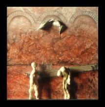 """ - II - Es lächelt der See, er …. "" #127 - 2013/01 - 47/47/6 cm - Öl auf Malpappe - Holz - geschnitzt -bemalt Öl"