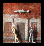""""""" - V - Von der Freude des Wiedersehens """" #130 - 2013/01 - 47/47/6 cm - Öl auf Malpappe - Holz - geschnitzt -bemalt Öl"""