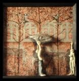 """"""" I - SilberFischMond"""" #126 - 2013/01 - 47/47/6 cm - Öl auf Malpappe - Holz - geschnitzt -bemalt Öl"""