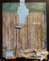 EIN BLAUMACHER IV #248 12/2018 50/40 cm Öl auf Malpappe Holz/Knetmasse/bemalt (Öl)